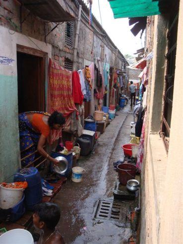 outside the school room in Calcutta slum