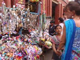 Puja and Brenda in the Calcutta market
