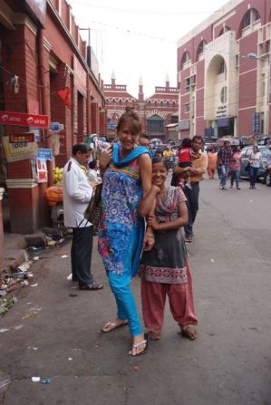 Puja and me in the streets of Calcutta
