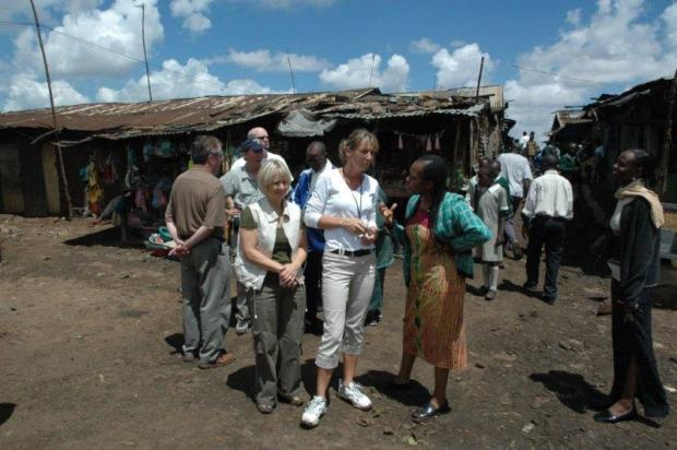Mathare Valley slum, Jane Otai with Brenda and group from Compassion International