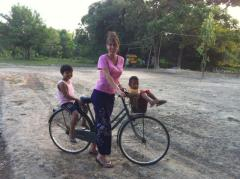 Burmese longi on a bike tour